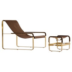 Set Chaise Lounge & Footstool, Brass Steel & Dark Brown Leather Contemporary