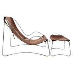 Set Chaise Lounge & Footstool Old Silver Steel & Dark Brown Leather Modern Style