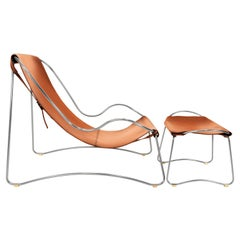 Set Chaise Lounge & Footstool Old Silver Steel & Natural Tobacco Leather, Modern