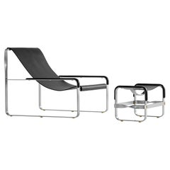 Set Chaise Lounge % Footstool, Silver Steel & Black Leather, Contemporary Style