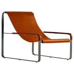 Set Contemporary Chaise Longue & Footstool Black Steel & Tobaco Leather, Modern