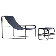 Set Contemporary Chaise Lounge and Footstool Black Steel and Blue Leather Modern
