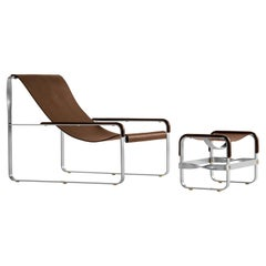 Set Contemporary Chaise Lounge and Footstool, Silver Steel & Dark Brown Leather