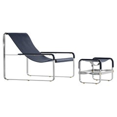 Set Contemporary Chaise Lounge & Footstool Old Silver Steel and Blue Leather