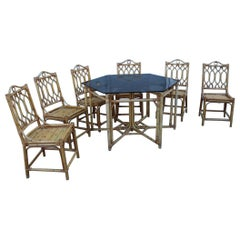 Set Dining Room Bamboo Italian Midcentury Design Octagonal Table Glass Top, 1950
