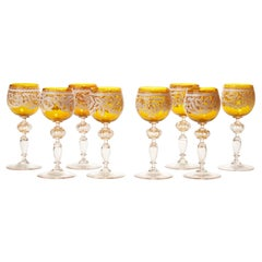 Set Eight Antique Italian Venetian Salviati Lacework Wine Glasses, circa 1890