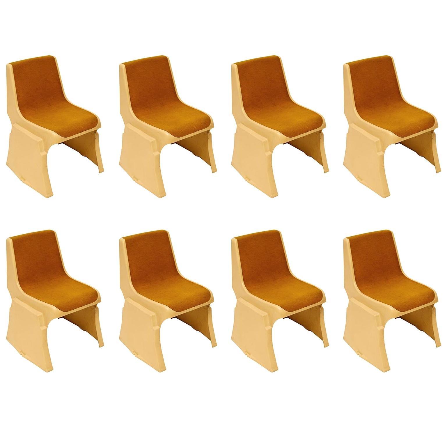 Set Eight Brutalist Fiberglass Stacking Chairs, Günther Domenig, Austria, 1970s