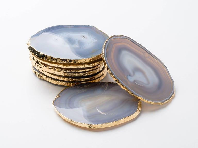 Set Eight Semi-Precious Gemstone Coasters Wrapped in 24-Karat Gold For Sale 3