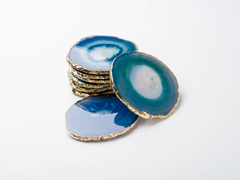 Set Eight Semi-Precious Gemstone Coasters Wrapped in 24-Karat Gold For Sale 1