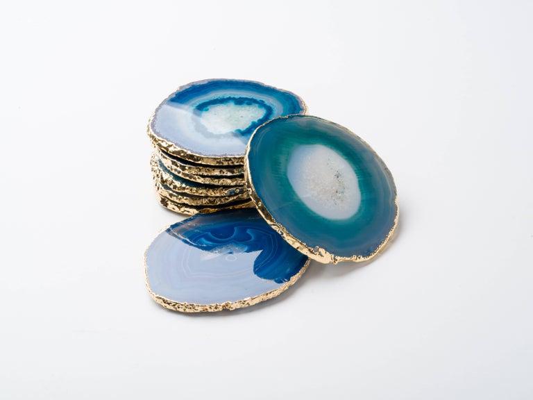 Set Eight Semi-Precious Gemstone Coasters Wrapped in 24-Karat Gold For Sale 1