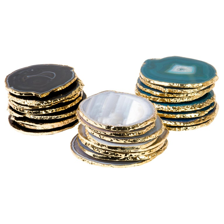 Set Eight Semi-Precious Gemstone Coasters Wrapped in 24-Karat Gold For Sale