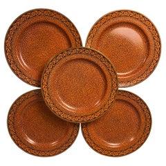 Set Eleven Dinner Plates Masons Ironstone Sharkskin Pattern Orange Brown c-1915