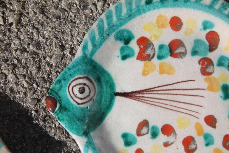 Set for Fish in Glazed Ceramic Art Sicilian, 1960s Giovanni De Simone Colored For Sale 7