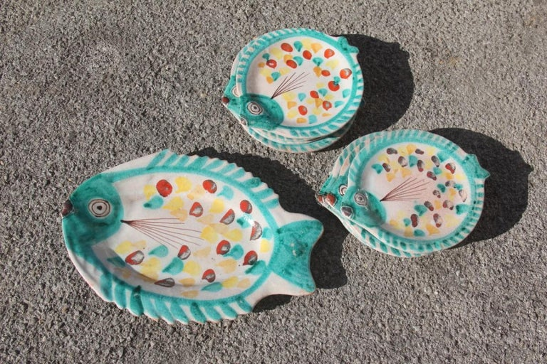 Set for Fish in Glazed Ceramic Art Sicilian, 1960s Giovanni De Simone Colored For Sale 12