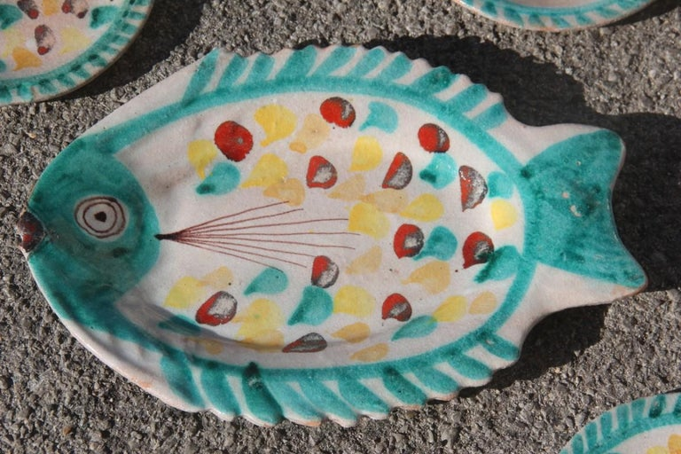 Set for fish in glazed ceramic Art Sicilian, 1960s Giovanni De Simone colored.