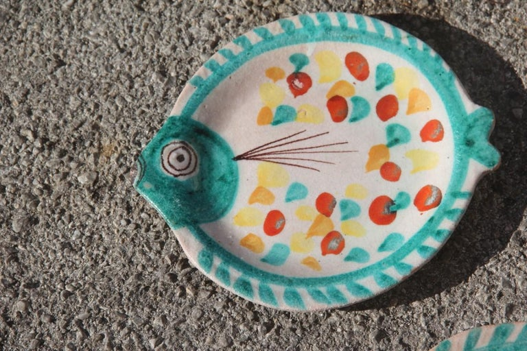 Italian Set for Fish in Glazed Ceramic Art Sicilian, 1960s Giovanni De Simone Colored For Sale