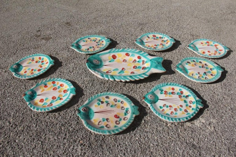 Set for Fish in Glazed Ceramic Art Sicilian, 1960s Giovanni De Simone Colored For Sale 2