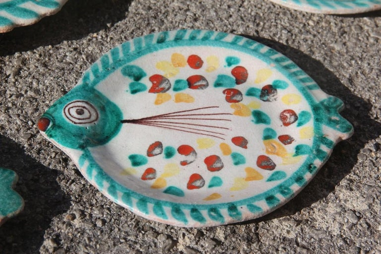Set for Fish in Glazed Ceramic Art Sicilian, 1960s Giovanni De Simone Colored For Sale 3