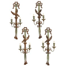 Set Four Blue and Silver Leaf Carved Wood Twin Light Wall Sconces, Italy