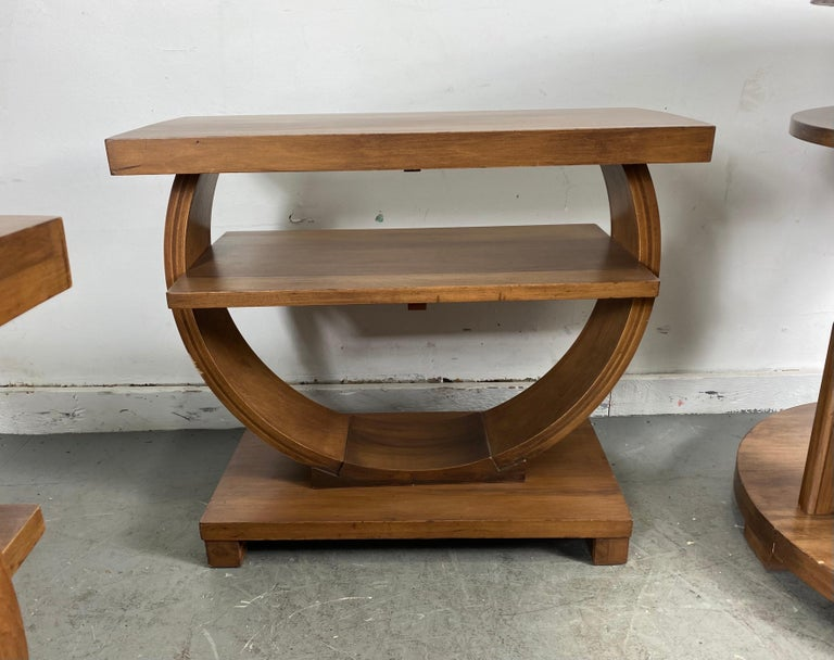 Mid-20th Century Set of Four Classic Art Deco Tables by Brown Saltman, Coffee, Ends, Lamp Table For Sale