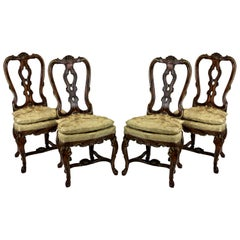 Set Four Fine George II Faux Walnut and Gilded Dining Chairs