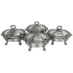 Set Four Georgian Antique Old Sheffield Silver Plate Sauce Tureens, circa 1820