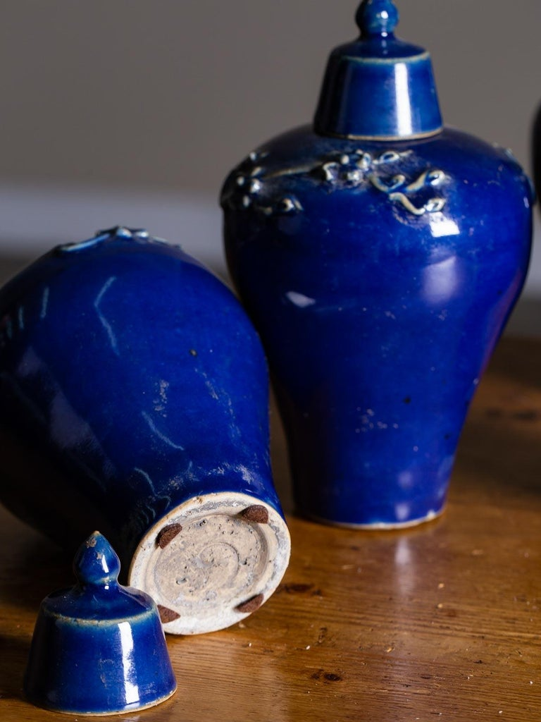 Set of Four Lapis Lazuli Blue Hand Glazed Modern Vessels Pots Jars with Lids For Sale 6