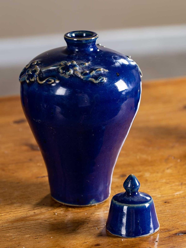 Chinese Set of Four Lapis Lazuli Blue Hand Glazed Modern Vessels Pots Jars with Lids For Sale