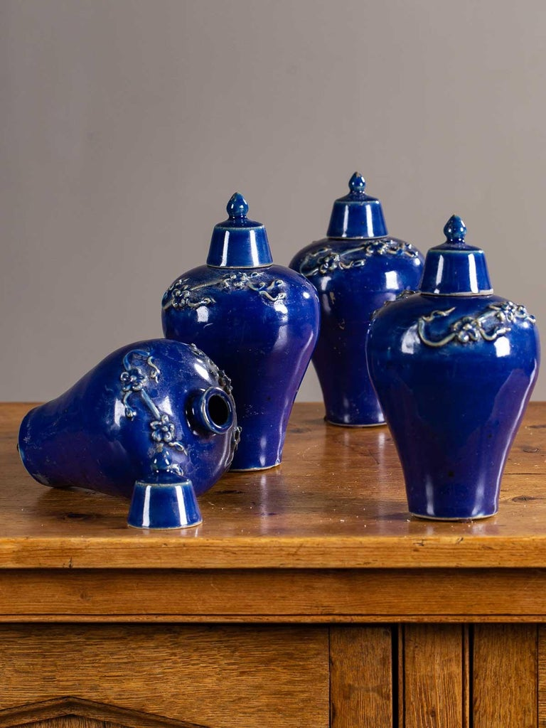 Set of Four Lapis Lazuli Blue Hand Glazed Modern Vessels Pots Jars with Lids In Excellent Condition For Sale In Houston, TX