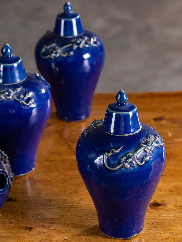 Contemporary Set of Four Lapis Lazuli Blue Hand Glazed Modern Vessels Pots Jars with Lids For Sale