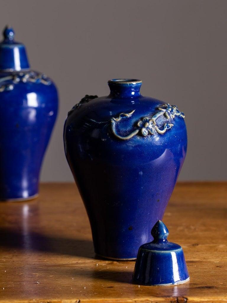 Ceramic Set of Four Lapis Lazuli Blue Hand Glazed Modern Vessels Pots Jars with Lids For Sale