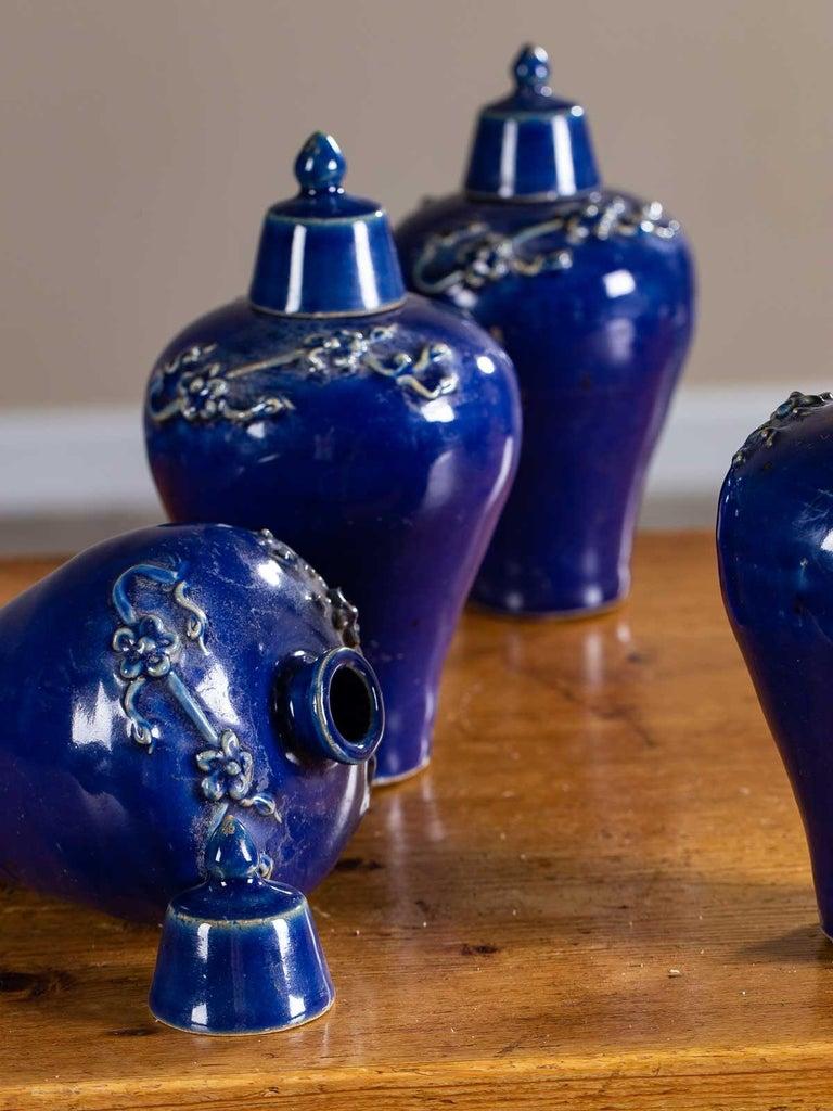Set of Four Lapis Lazuli Blue Hand Glazed Modern Vessels Pots Jars with Lids For Sale 1