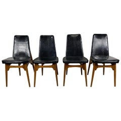 Set Four Mid-Century Modern Dining Chairs, Original Alligator Patent Leather