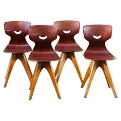 Set Four Midcentury German Chairs Designed by Adam Stegner for Pagholz