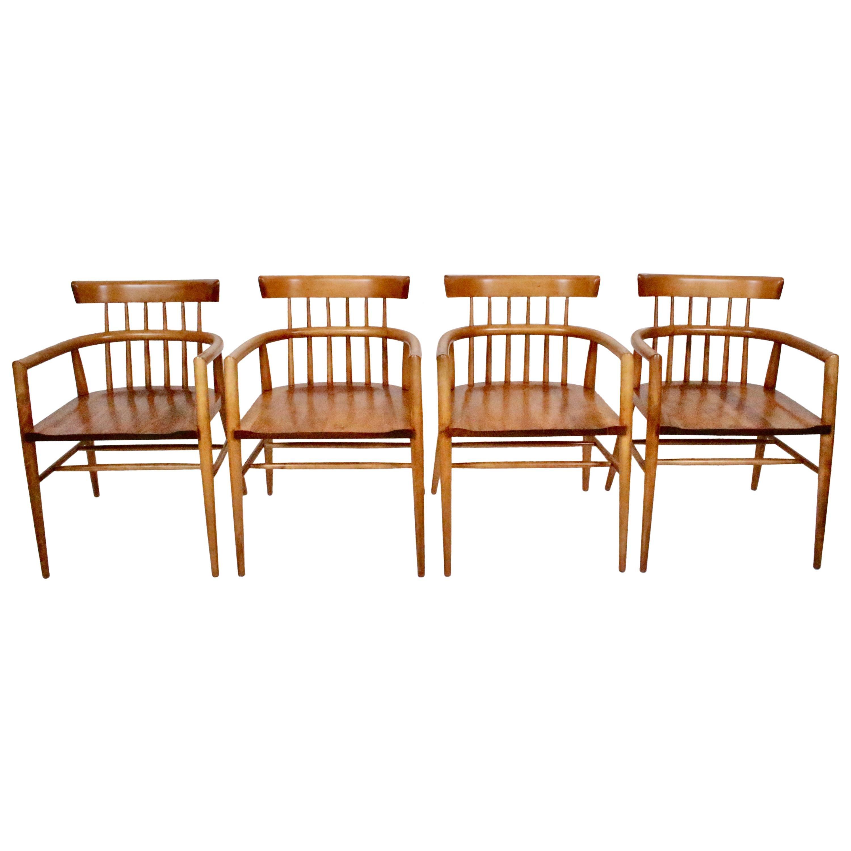 Set Four Paul McCobb Planner Group Maple Captains Chairs, Model 1532