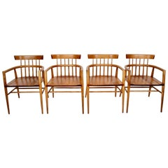 Set Four Paul McCobb Planner Group Maple Captains Chairs, Model 1532