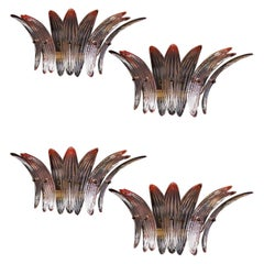 Set Four Pink Palmette Sconces Barovier & Toso Style, Murano