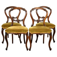 Set Four Victorian Walnut Dining Chairs