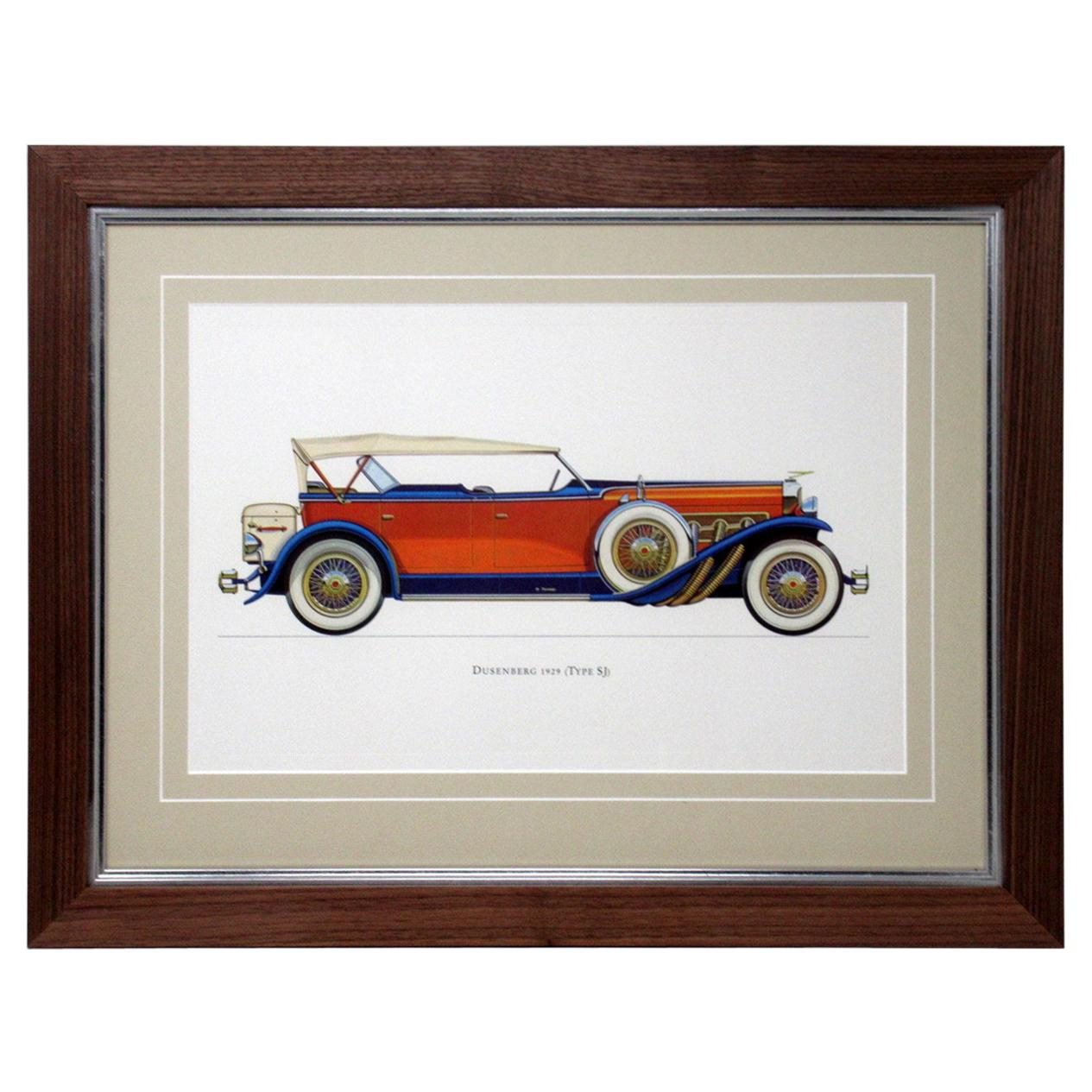 Set Four Vintage American Cars Lithographs Pictures, 1964