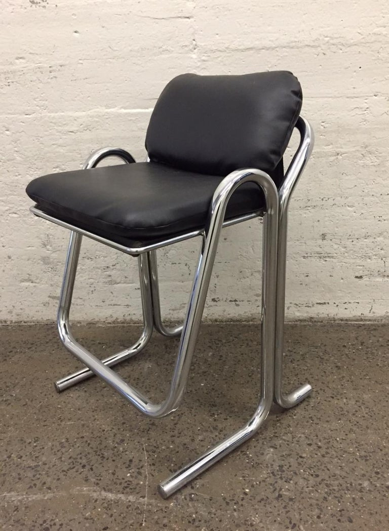 Mid-Century Modern Set of Four Vintage Jerry Johnson Bar Stools For Sale