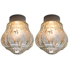 Set French Wall/Ceiling Lights with Clear Structured Glass Porcelain Base, 1930s