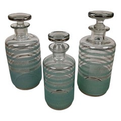 Set from Three Glass Carafes from 1930s, in Cabana Style