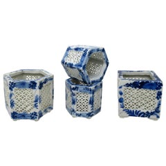 Set Hand Painted Blue White Japan Chinese Reticulated Hexagonal Porcelain Vases