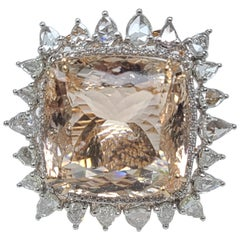 Set in 18 Karat Gold 32.36 Carat Morganite Ring with Rose Cut Diamond