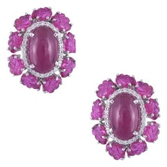 Set in 18 Karat Gold, Mozambique, Cabochon & Carved Ruby & Diamond Stud Earrings