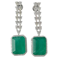 18 Karat Gold Natural Emerald 25+ Carat Earring with Diamond