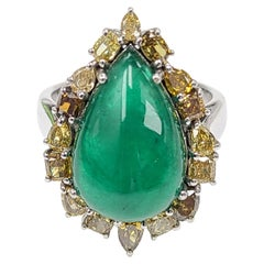 Set in 18 Karat Gold Natural Emerald Cabochon Ring with Fancy Diamonds