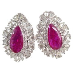 Set in 18 Karat Gold Natural Mozambique Ruby and Rose Cut Diamonds Stud Earrings
