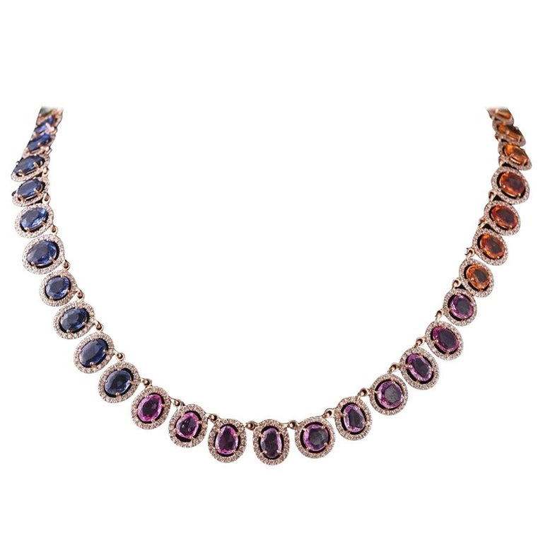 Set in 18 Karat Gold, Natural, Multi, Sapphire and Diamonds Chocker or Necklace For Sale
