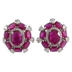 Set in 18 Karat Gold, Natural Ruby and Diamonds Cluster Style Stud Earrings